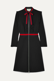 Gucci Ruffled grosgrain-trimmed stretch-cady dress