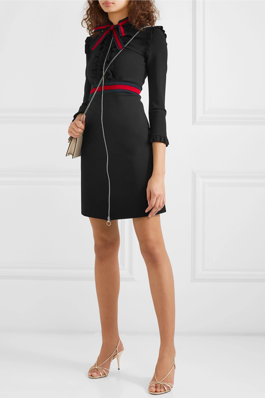 schwarz minikleid aus cady und spitze   givenchy   net-a-porter