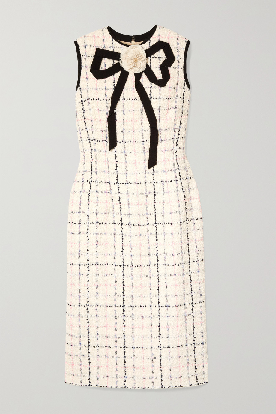 Gucci Grosgrain-trimmed checked tweed dress