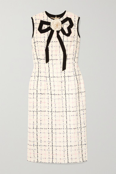Grosgrain-Trimmed Checked Tweed Dress in Ivory