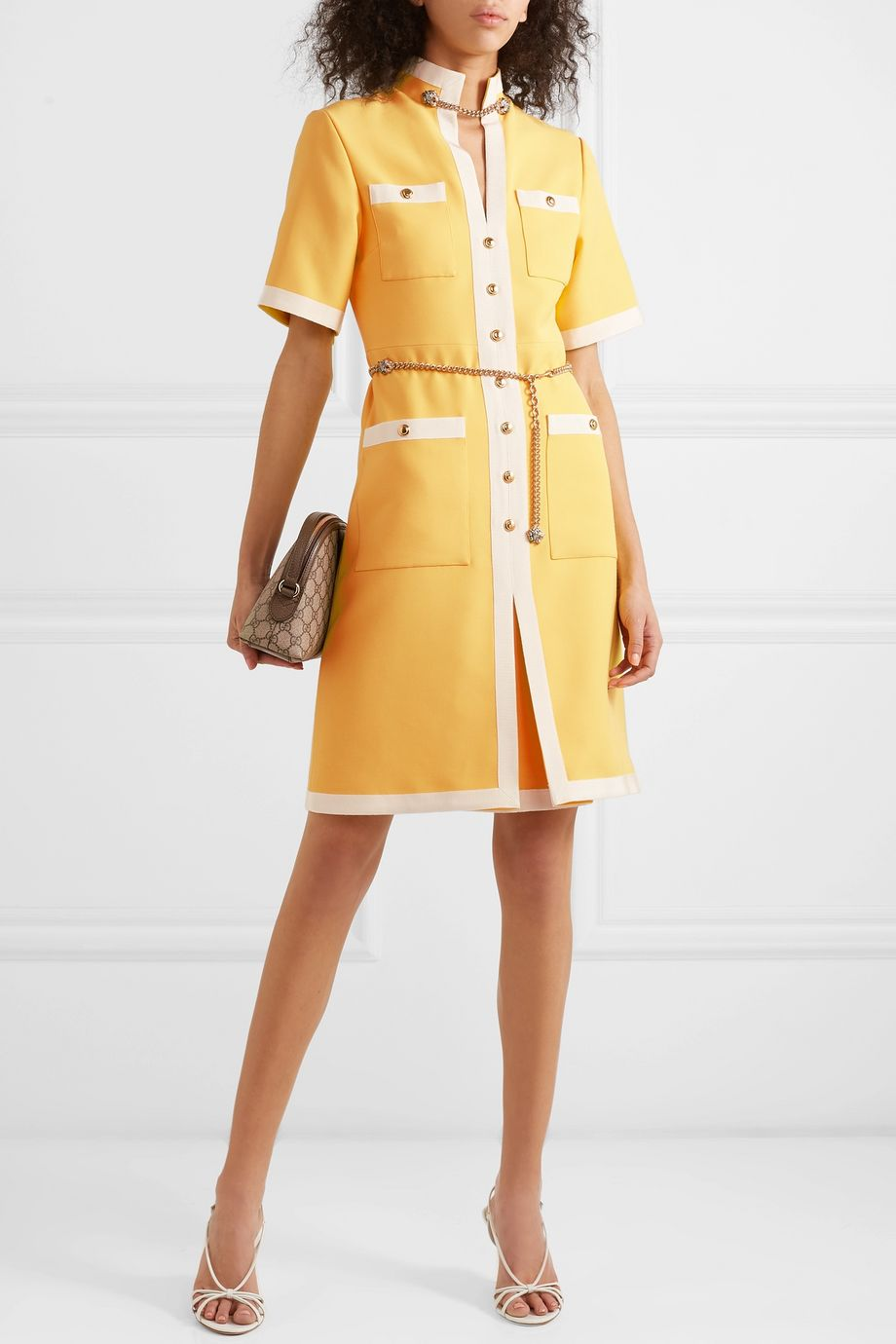 Gucci Grosgrain-trimmed wool and silk-blend dress