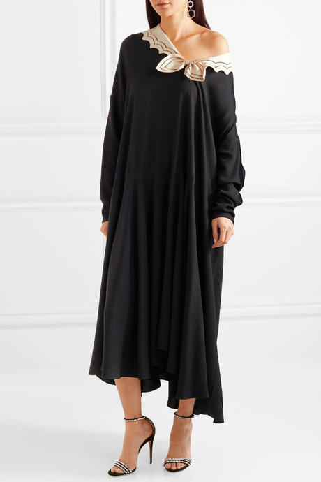 Oversized silk-trimmed crepe midi dress
