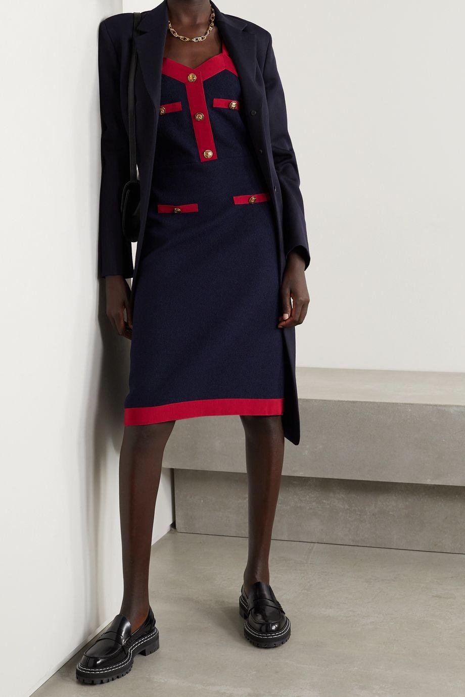 Gucci Grosgrain-trimmed wool-blend dress