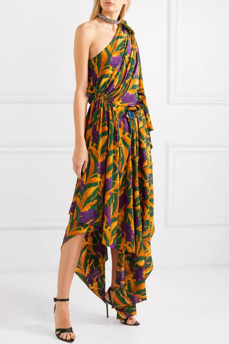 One-shoulder appliquéd printed silk crepe de chine dress