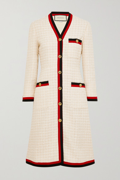 GUCCI | Gucci - Grosgrain-trimmed Cotton-blend Bouclé-tweed Coat - Ivory | Goxip