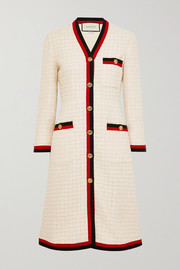Gucci Grosgrain-trimmed cotton-blend bouclé-tweed coat