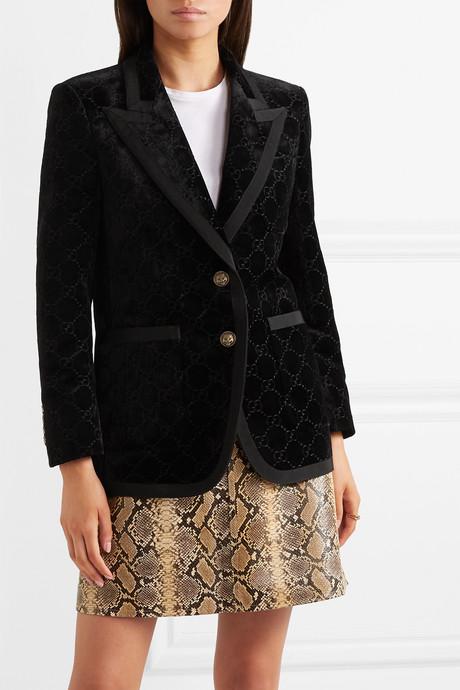 Grosgrain-trimmed metallic velvet-jacquard blazer