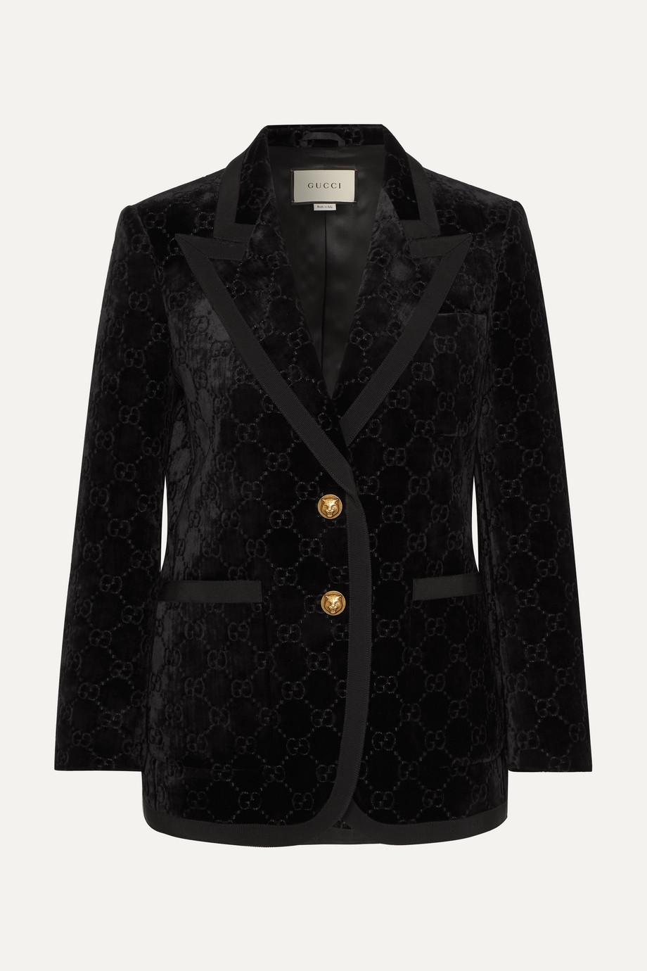 Gucci Grosgrain-trimmed metallic velvet-jacquard blazer