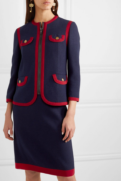 Grosgrain-trimmed wool-blend jacket