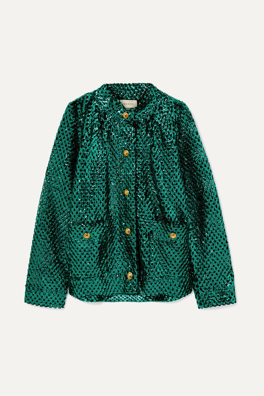 Gucci Sequined open-knit jacket