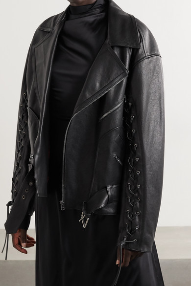Gucci Jackets Oversized lace-up painted leather biker jacket