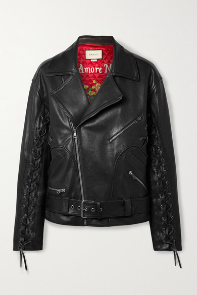 Oversized Hand-Painted Soft-Leather Biker Jacket in Black