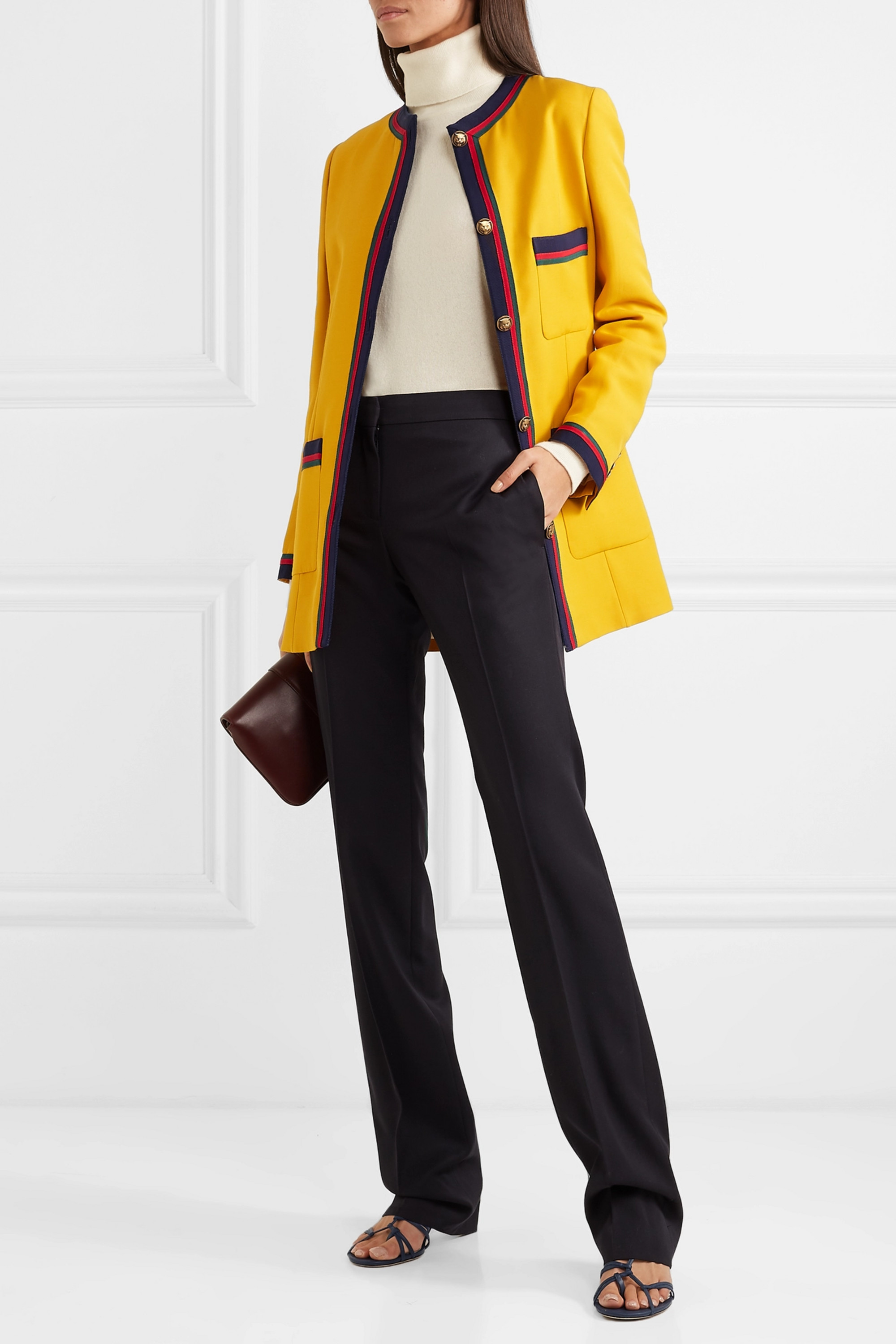 Gucci Grosgrain-trimmed wool and silk-blend blazer