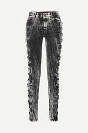 Buckled high-rise skinny jeans