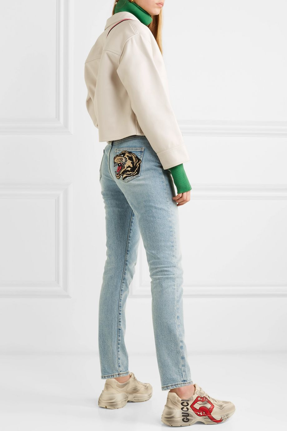 Gucci Embroidered high-rise skinny jeans