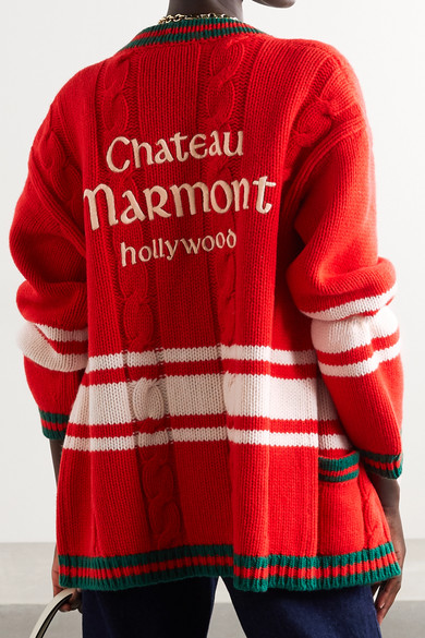70443337229 Gucci. + Chateau Marmont embroidered striped cable-knit wool cardigan.   3