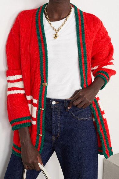 24d8cc85cd9 Gucci. + Chateau Marmont embroidered striped cable-knit wool cardigan