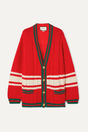 Gucci + Chateau Marmont embroidered striped cable-knit wool cardigan