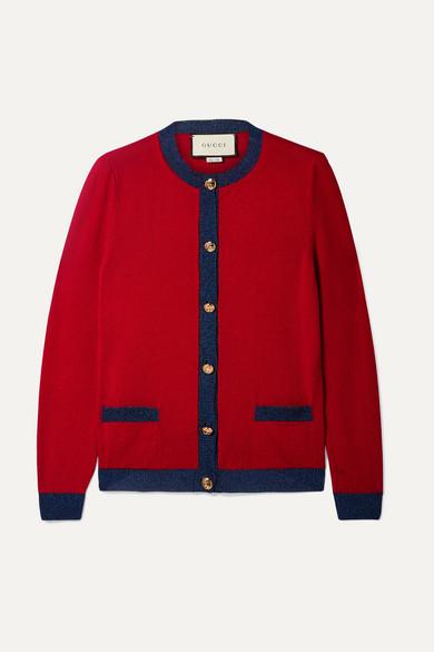 Gucci Knits Metallic-trimmed cashmere and silk-blend cardigan