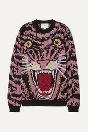 Gucci Oversized metallic intarsia knitted sweater