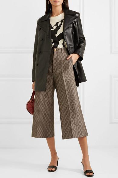 Gucci Pants Cotton and wool-blend jacquard wide-leg pants