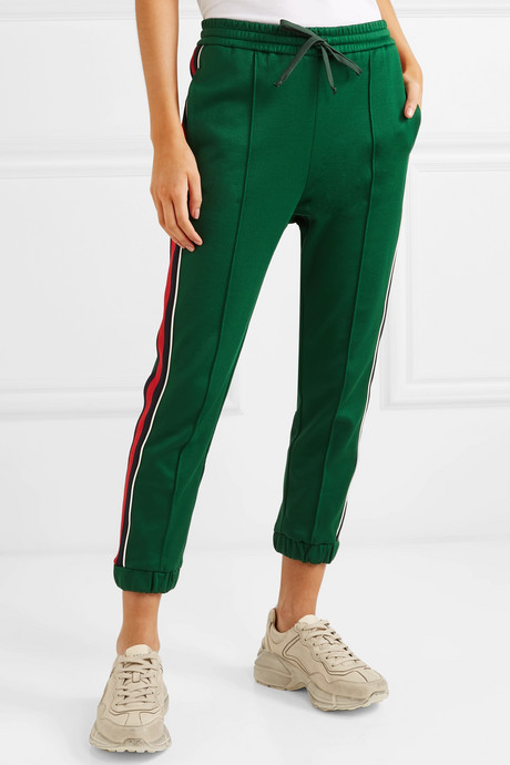 Striped tech-jersey track pants