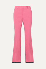 Gucci Cropped grosgrain-trimmed cady bootcut pants