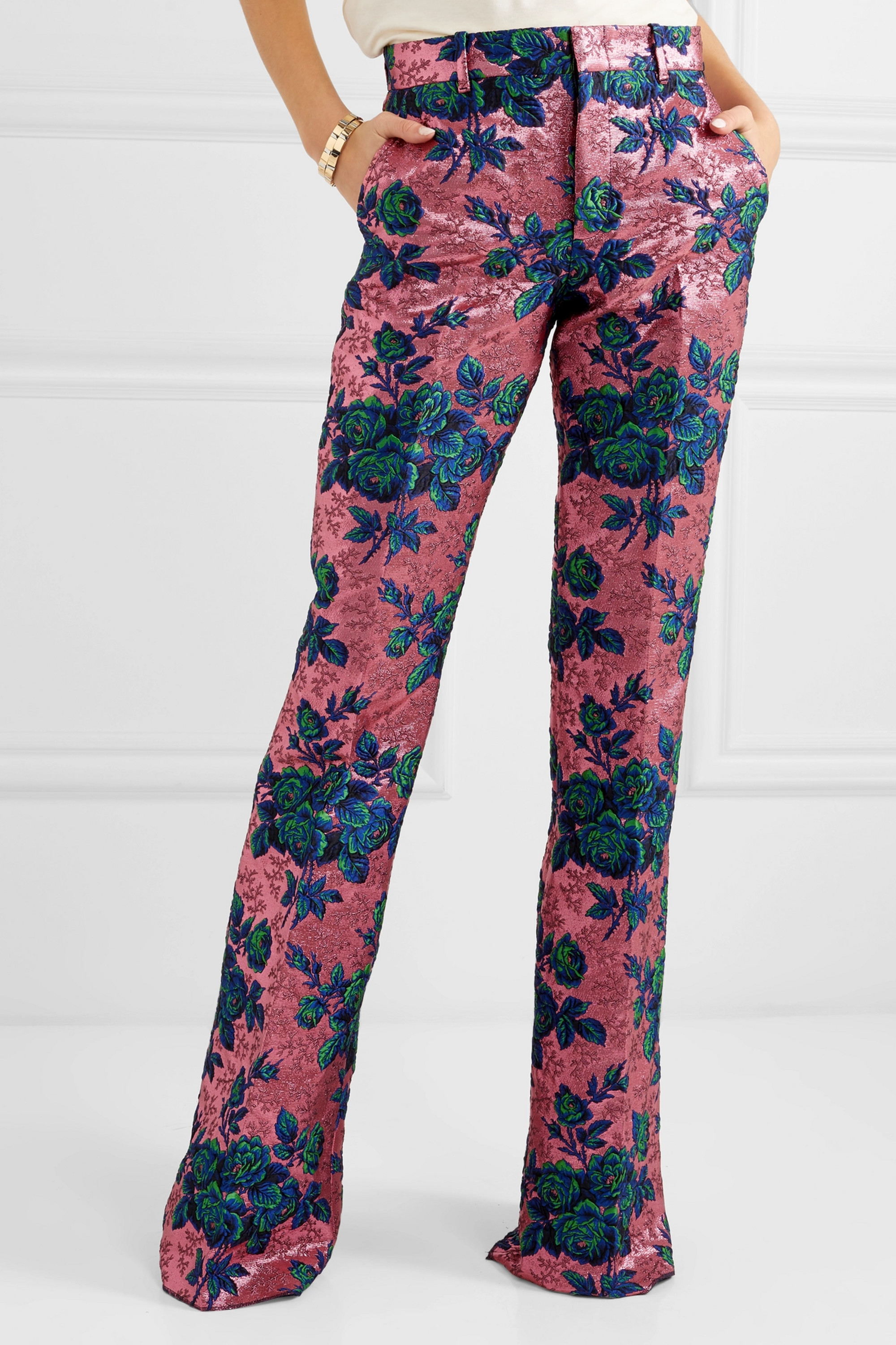 Gucci Floral brocade flared pants