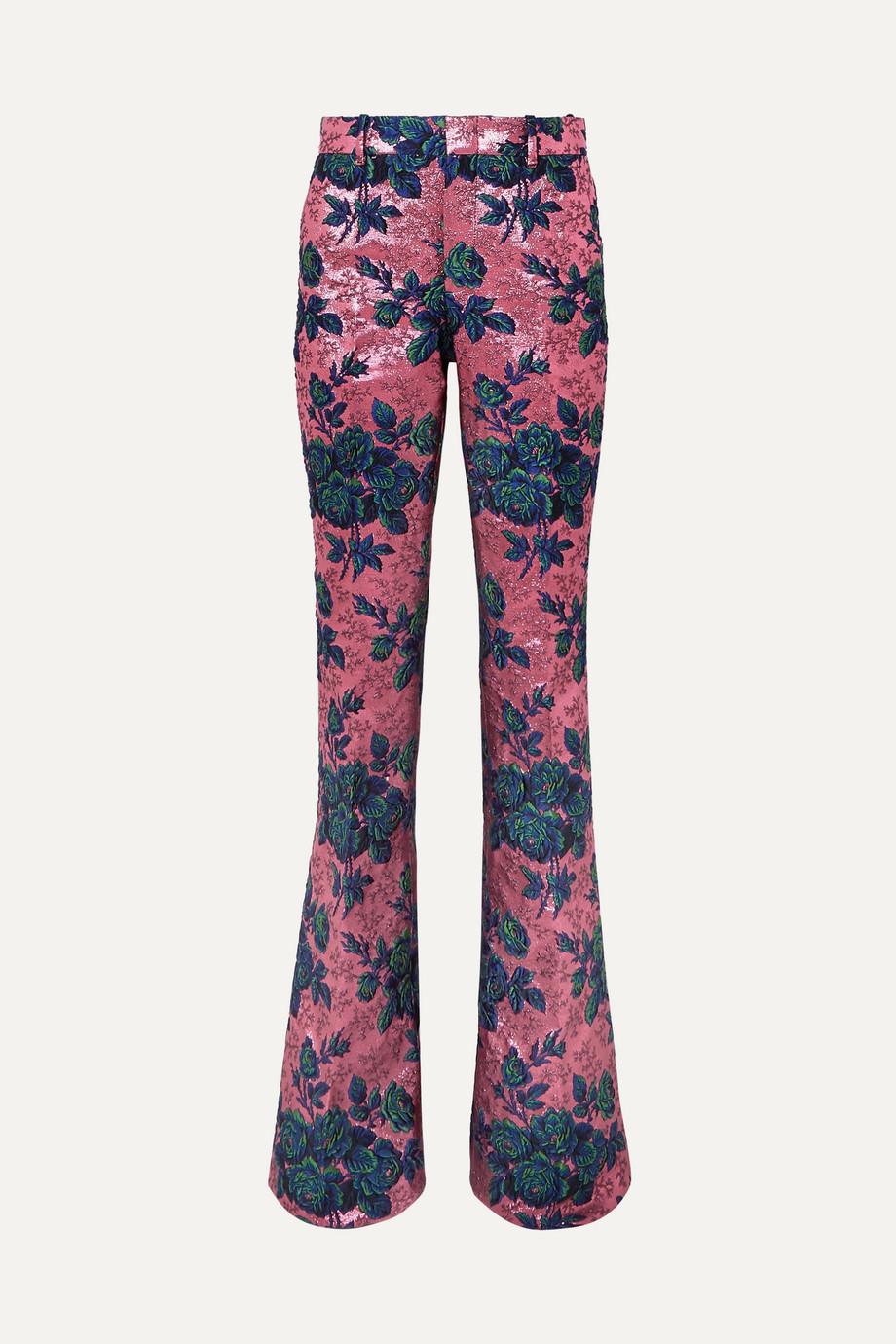 Gucci Schlaghose aus Brokat mit Blumenmuster