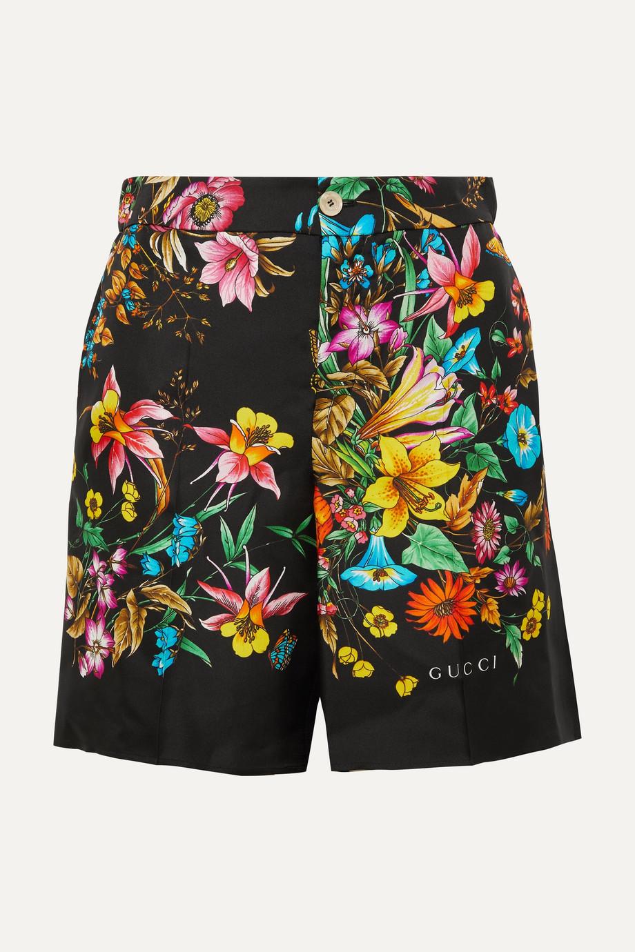 Gucci Floral-print silk-twill shorts