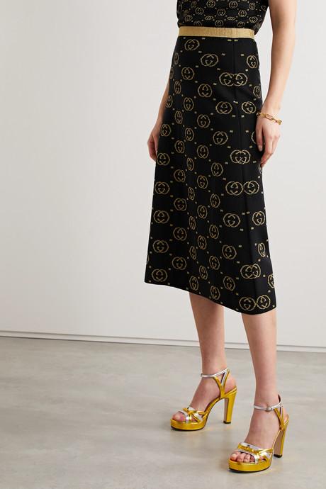 Metallic intarsia wool-blend midi skirt