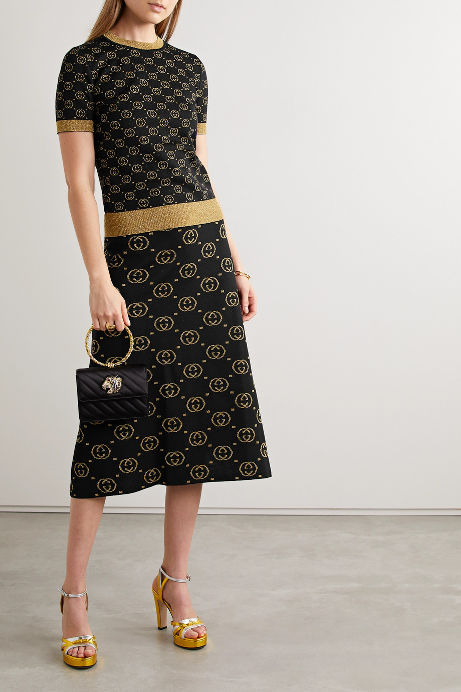 Gucci Metallic intarsia wool-blend midi skirt