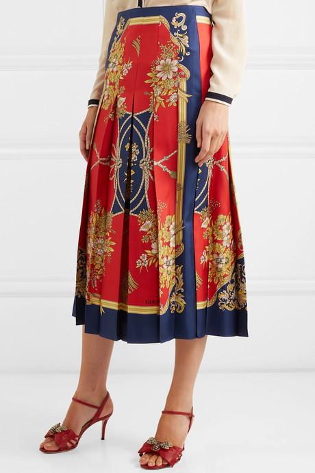 Pleated printed silk-twill skirt