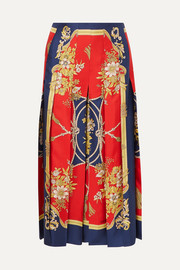 Gucci Pleated printed silk-twill skirt