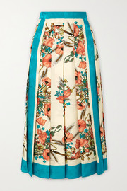 Pleated floral-print silk-jacquard skirt