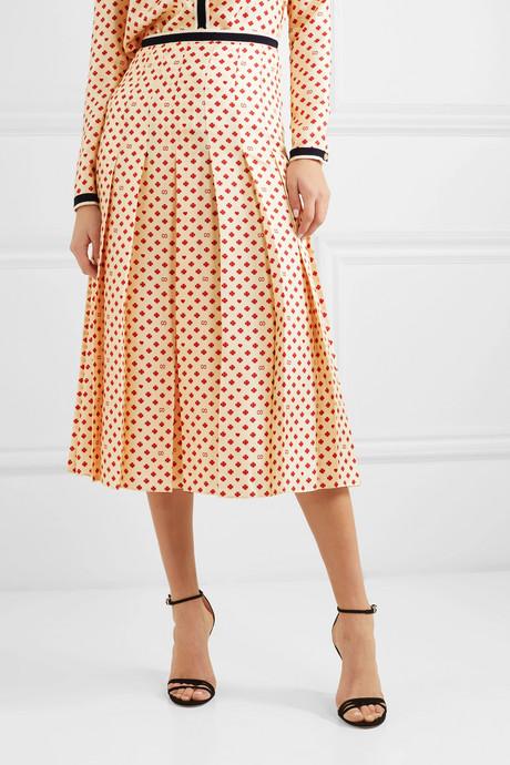 Grosgrain-trimmed pleated printed silk-twill midi skirt