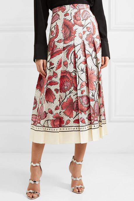 Pleated floral-print silk-twill skirt