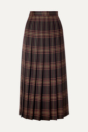 Gucci Pleated checked wool-twill midi skirt