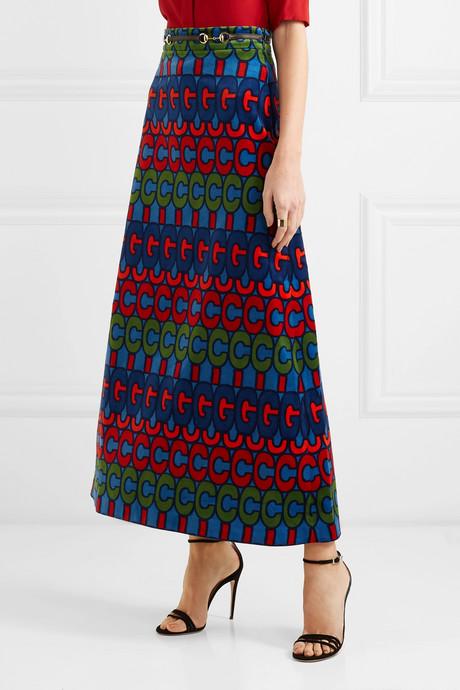 Horsebit-detailed printed velvet skirt