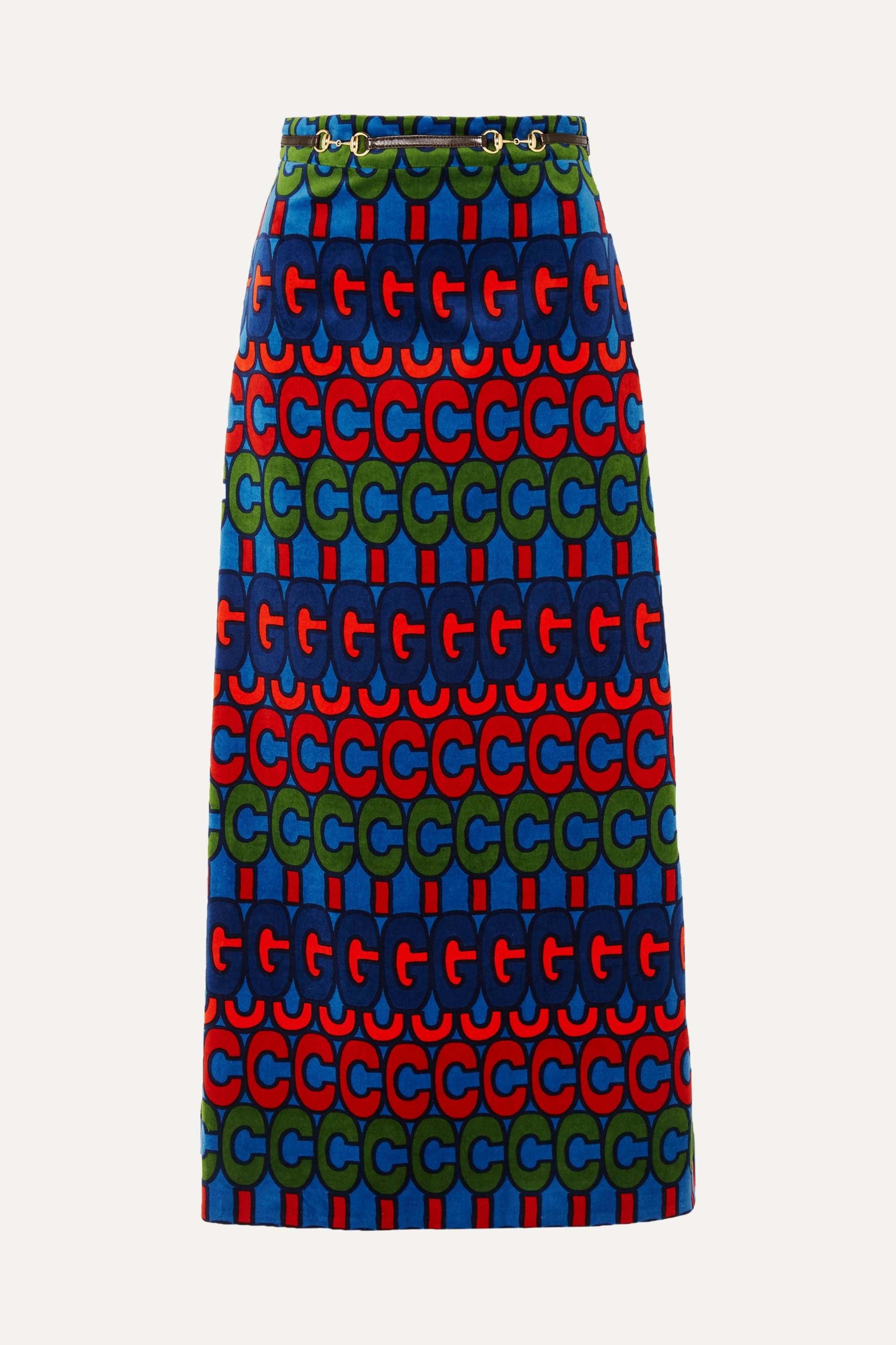 Gucci Horsebit-detailed printed velvet skirt