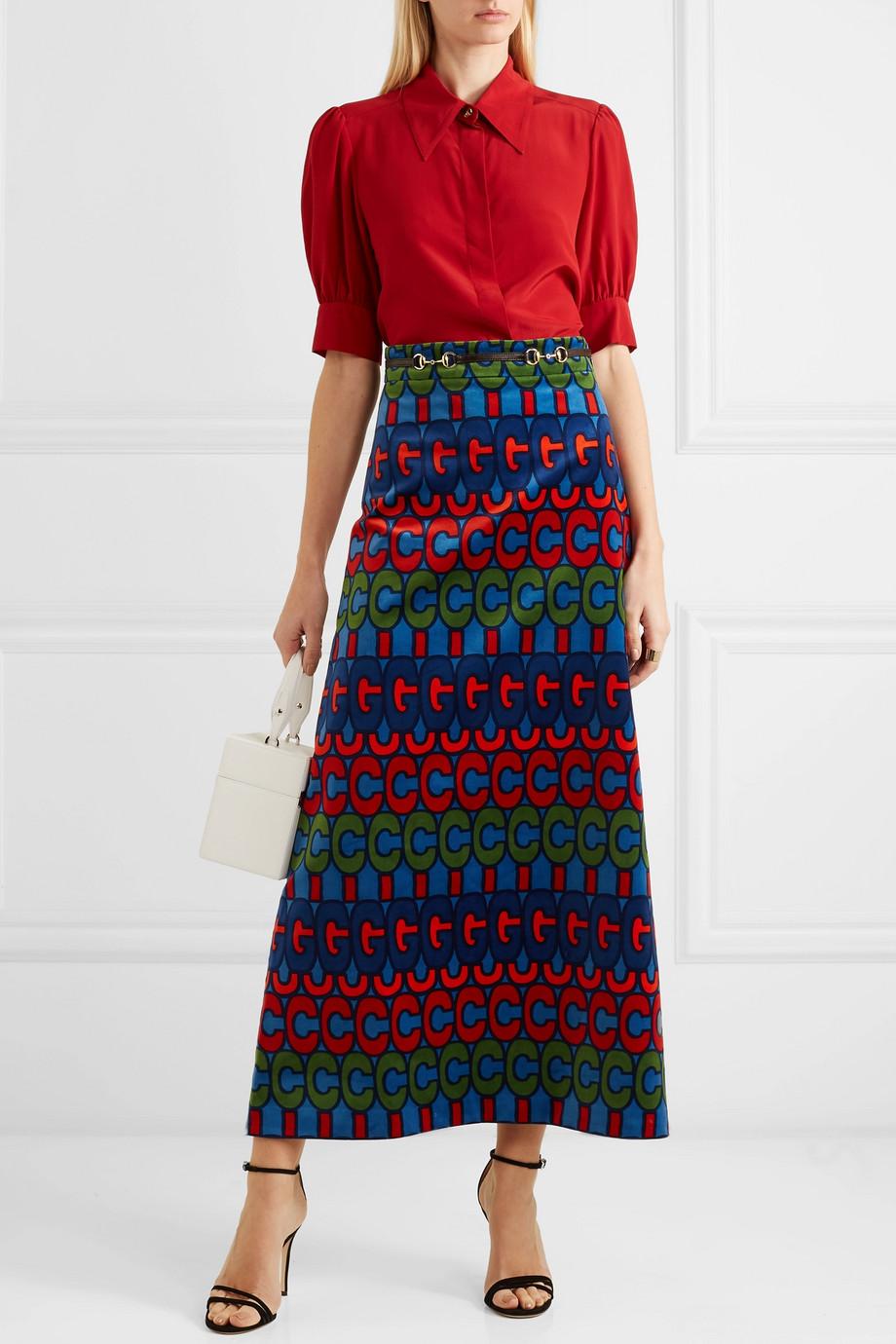 Gucci Horsebit-detailed printed velvet skirt