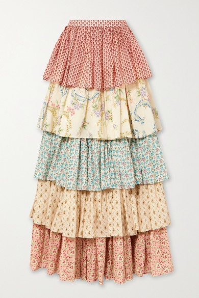 Gucci Cottons Tiered printed cotton maxi skirt