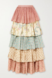 Gucci Tiered printed cotton maxi skirt