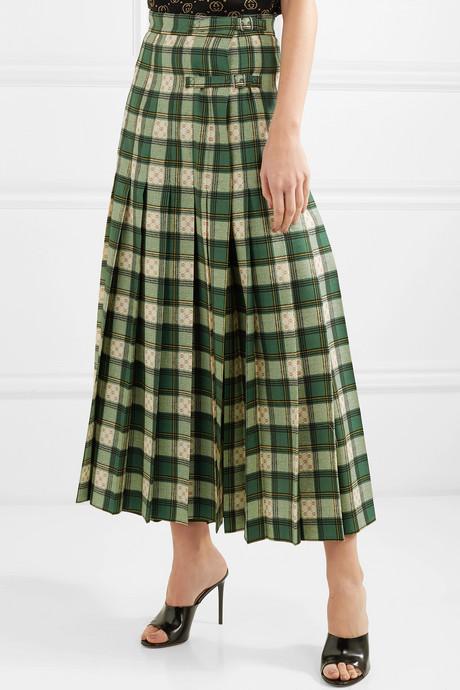 Tartan pleated wool-twill wrap skirt