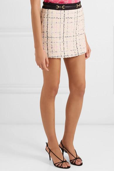 Gucci Skirts Embellished cotton-blend bouclé-tweed mini skirt