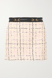 Gucci Embellished cotton-blend bouclé-tweed mini skirt
