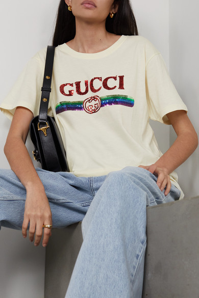 58e528854d78 Gucci. Sequin-embellished cotton-jersey T-shirt. £620. Play