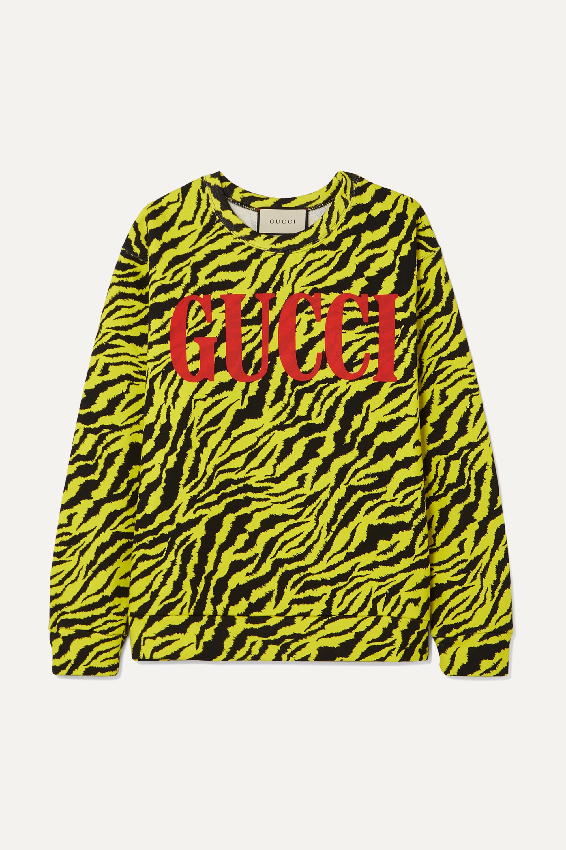Gucci Neon tiger-print cotton-jersey sweatshirt