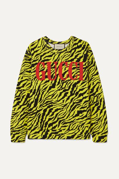 5cf87f28bd Gucci Tiger Stripe And Logo-Print Cotton Sweatshirt In Yellow