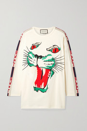 Intarsia-trimmed embroidered cotton-jersey top